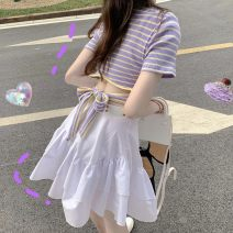 Dress Spring 2021 Striped Top + white skirt S M L XL Short skirt Two piece set Short sleeve commute Crew neck High waist Solid color Socket A-line skirt routine 18-24 years old Type A Fenxi fx3072210202 More than 95% other Other 100%