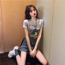 Women's large Summer 2021 S M L XL Dress Two piece set commute Self cultivation moderate Short sleeve letter Crew neck routine cotton routine Fenxi 18-24 years old Other 100%