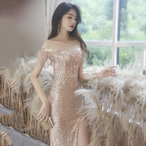 Dress / evening wear Wedding adult party company annual meeting performance XS S M L XL XXL Ys2001003 champagne gold fashion longuette middle-waisted Winter 2020 fish tail U-neck zipper 18-25 years old YS2001003 Solid color Yuansuo Other 100% Pure e-commerce (online only)