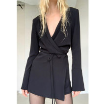 Dress Summer 2020 White, black S,M,L Short skirt Long sleeves tailored collar Solid color Irregular skirt Splicing Suit apron polyester fiber