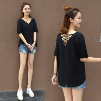 T-shirt M L XL S Summer of 2018 Short sleeve V-neck easy Regular routine commute cotton 86% (inclusive) -95% (inclusive) 25-29 years old Korean version youth Solid color stitching Dream alone Cotton 95% polyurethane elastic fiber (spandex) 5% Pure e-commerce (online only)