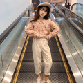 suit nainsect Plaid shirt + suspenders plaid shirt + trousers 120cm 130cm 140cm 150cm 160cm female spring and autumn Korean version Long sleeve + pants 2 pieces routine There are models in the real shooting Single breasted nothing lattice cotton children Expression of love DZ-20-8903 Class B