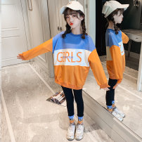 suit nainsect Color matching sweater + Leggings 120cm 130cm 140cm 150cm 160cm female spring and autumn Korean version Long sleeve + pants 2 pieces routine There are models in the real shooting Socket nothing Solid color cotton children Expression of love 21-0026 Class B Cotton 100% Spring 2021