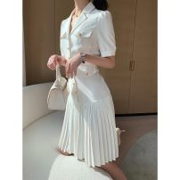 Dress Summer 2020 white S,M,L,XL Mid length dress singleton  Long sleeves commute tailored collar Solid color Single breasted Pleated skirt 25-29 years old Other More than 95%