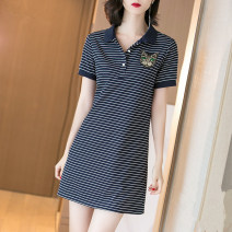 Dress Summer 2020 Dark blue white S M L XL 2XL 3XL Mid length dress singleton  Short sleeve commute Polo collar High waist stripe Single row two buttons A-line skirt routine 18-24 years old Type A Aoxue's Poems Korean version Button tchG6g More than 95% other Other 100% Pure e-commerce (online only)