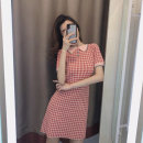 Dress Summer 2021 Khaki Pink S M L XL Short skirt singleton  Short sleeve commute Polo collar Loose waist lattice Socket A-line skirt routine Others 18-24 years old Type H Aoxue's Poems Korean version Button 7121# More than 95% knitting other Other 100% Pure e-commerce (online only)