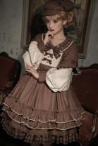 Lolita / soft girl / dress Sleepy town Retro grey, English L,M,S,XL