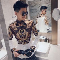 shirt Youth fashion Tiger Wolf M L XL 2XL 3XL Black and white routine Pointed collar (regular) Long sleeves Self cultivation daily autumn A270-12234 youth Polyester 100% tide 2019 camouflage Autumn of 2019 No iron treatment printing Exclusive payment of tmall