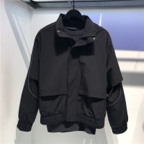 Jacket Youth fashion black S,M,L,XL,2XL routine standard Other leisure spring Long sleeves Wear out stand collar tide youth routine zipper No iron treatment Closing sleeve Solid color polyester fiber polyester fiber