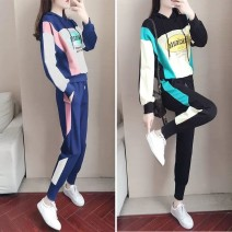 Women's large Spring 2021 Navy [two piece set] black [two piece set] M L XL 2XL 3XL Two piece set commute easy moderate Long sleeves letter Korean version Hood routine other routine whnX1m Zuyuuvip / bundle domain 18-24 years old tie-dyed 30% and below Other 100.00% Exclusive payment of tmall