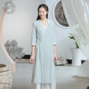 Dress Spring 2021 Blue water clear green S M L longuette singleton  Long sleeves commute V-neck High waist Solid color Socket A-line skirt routine Others 25-29 years old Type A Sufei Retro Embroidery W3522 More than 95% cotton Cotton 100%
