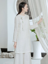 jacket Summer 2021 S M L white S637 Sufei 25-35 years old Flax 82% cotton 18%