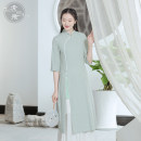 Dress Spring 2021 Blue water clear green S M L XL Mid length dress singleton  Nine point sleeve commute stand collar High waist Solid color Socket Others 25-29 years old Sufei Retro L3538 More than 95% cotton Cotton 100% Pure e-commerce (online only)