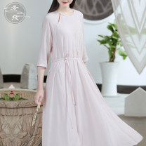 Dress Spring 2021 Pink S M L Mid length dress singleton  three quarter sleeve commute Crew neck High waist Solid color Socket A-line skirt routine 25-29 years old Type A Sufei Retro Frenulum TBCL827 51% (inclusive) - 70% (inclusive) cotton Cotton 70% flax 30% Pure e-commerce (online only)