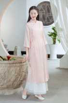 Dress Summer 2021 White pink S M L Mid length dress singleton  three quarter sleeve commute stand collar High waist Solid color Socket A-line skirt pagoda sleeve Others 25-29 years old Type A Sufei literature L802 More than 95% Chiffon polyester fiber Polyester 100% Pure e-commerce (online only)