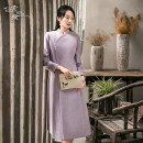 Dress Autumn 2020 violet S M L Mid length dress singleton  Long sleeves commute Others 25-29 years old Sufei Retro 91% (inclusive) - 95% (inclusive) polyester fiber