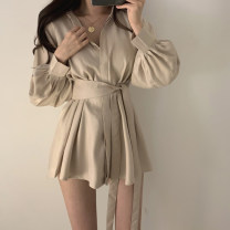 Dress Spring 2020 Apricot, black, white, blue Average size Short skirt Two piece set Long sleeves street stand collar Solid color Single breasted shirt sleeve Others 18-24 years old Type A Bandage WKS7448V08 Europe and America