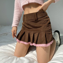 skirt Summer 2021 S,M,L Black, brown Short skirt street High waist Pleated skirt Type A 18-24 years old WKD6830W0I More than 95% corduroy Splicing Europe and America