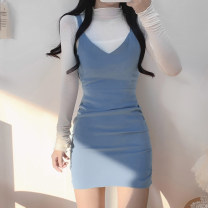 Dress Winter 2020 Blue, black, yellow S,M,L Short skirt Two piece set Long sleeves street Half high collar High waist Socket One pace skirt 18-24 years old Type H fold WKS8466W0J More than 95% cotton