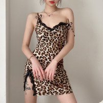 Dress Spring 2021 khaki S,M,L Short skirt singleton  Sleeveless street High waist Leopard Print Socket A-line skirt camisole 18-24 years old Type A Bowknot, stitching, lace 91% (inclusive) - 95% (inclusive) polyester fiber Europe and America
