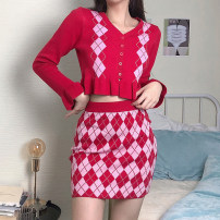 skirt Spring 2021 S,M,L Red skirt, red top [c7114w0i], blue skirt, blue top [c7114w0i] Short skirt street High waist A-line skirt Type A 18-24 years old WKD7115W0I 71% (inclusive) - 80% (inclusive) polyester fiber Europe and America