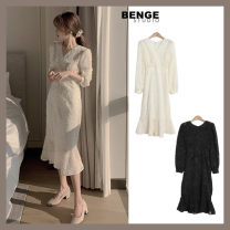 Dress Winter 2020 Black, apricot S,M,L Mid length dress singleton  Long sleeves commute V-neck High waist Solid color zipper other 18-24 years old Type A Korean version Bowknot, lace, lace, zipper, lace