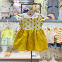 Dress Ol yellow purchasing agent female moimoln 80 for about 65cm, 90 for about 75cm, 100 for about 85CM, 110 for about 95cm Other 100% summer Korean version Short sleeve other other M212OPB54P Class B 3 months, 12 months, 6 months, 9 months, 18 months, 2 years old, 3 years old