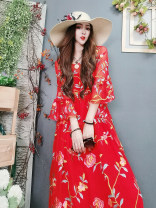 Dress Spring 2021 gules Average size Mid length dress singleton  Nine point sleeve Crew neck Loose waist other Socket other pagoda sleeve Gules Embroidery 91% (inclusive) - 95% (inclusive) silk