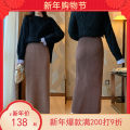 skirt Winter 2020 XL,2XL,L,M longuette commute High waist skirt Solid color Type H 25-29 years old knitting Other / other Simplicity 301g / m ^ 2 (including) - 350g / m ^ 2 (including)