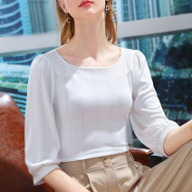 T-shirt white S M L XL 2XL Summer 2021 elbow sleeve square neck Self cultivation Regular routine commute polyester fiber 86% (inclusive) -95% (inclusive) 25-29 years old Korean version literature Solid color Shanshidu Pleating Polyester 93% polyurethane elastic fiber (spandex) 7%