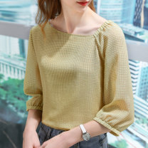 Lace / Chiffon Spring 2021 Flax yellow black S M L XL 2XL three quarter sleeve commute Socket singleton  easy Regular V-neck Solid color routine 25-29 years old Shanshidu SSD1986108 Korean version Polyester 100% Pure e-commerce (online only)