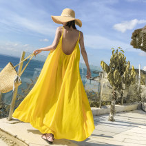 Dress Summer of 2019 yellow S M L XL longuette singleton  Sleeveless Sweet V-neck High waist Dot Socket Big swing other camisole 18-24 years old Type A FeiTing Pavilion Open back with lotus leaf More than 95% Chiffon other New polyester fiber 100% Bohemia Pure e-commerce (online only)