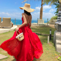 Dress Summer of 2019 Red and white Smlxl has applied for original protection, piracy complaints longuette singleton  Sleeveless V-neck High waist Solid color Socket Big swing other camisole 18-24 years old Type A FeiTing Pavilion Bow and ruffle strap 19-209 More than 95% Chiffon polyester fiber