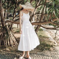 Dress Summer of 2019 white S M L XL longuette singleton  Sleeveless Sweet V-neck High waist Solid color Socket Cake skirt other camisole 18-24 years old Type A FeiTing Pavilion Lace up zipper with ruffles More than 95% other New polyester fiber 100% Mori Pure e-commerce (online only)