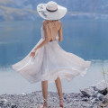 Dress Summer of 2018 grey L XL Mid length dress singleton  Sleeveless Sweet V-neck High waist Decor Socket Big swing other camisole 18-24 years old Type A FeiTing Pavilion backless 521a More than 95% Chiffon other New polyester fiber 100% Bohemia Pure e-commerce (online only)