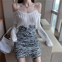 short coat Summer 2020 S M L White T-shirt black T-shirt zebra skirt Long sleeves have cash less than that is registered in the accounts routine Two piece set easy commute routine One word collar Solid color 18-24 years old Lovely beauty 96% and above Hollowing out other Other 100%
