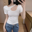 shirt White black S M L Summer 2021 other 96% and above Short sleeve commute Short style (40cm < length ≤ 50cm) other Socket routine Solid color 18-24 years old Self cultivation Lovely beauty Korean version 2034#adf5a6 Other 100%