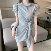 short coat Summer 2021 S M L Black grey Short sleeve Medium length singleton  commute other Polo collar Solid color 18-24 years old Lovely beauty 96% and above ww2r2r2 other Other 100% Pure e-commerce (online only)