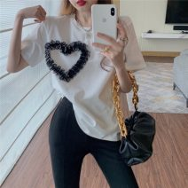 shirt White black S M L Summer 2021 other 96% and above Short sleeve commute Regular Crew neck Socket routine other 18-24 years old Straight cylinder Lovely beauty Korean version 8558afa25g2 Other 100%