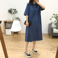Dress Summer 2020 S M L Mid length dress Short sleeve commute Polo collar Loose waist Solid color Three buttons other 25-29 years old Type H Teilwenl / Tiki Retro More than 95% cotton Cotton 100% Pure e-commerce (online only)