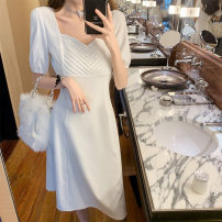 Dress Summer 2021 white S M L Mid length dress Short sleeve commute V-neck High waist Solid color Socket A-line skirt routine 25-29 years old Type A Teilwenl / Tiki Retro zipper More than 95% other Other 100% Pure e-commerce (online only)