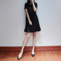 Dress Summer 2020 black XS S M L XL Mid length dress singleton  Short sleeve commute Crew neck Loose waist Solid color Socket Ruffle Skirt routine 25-29 years old Type A Teilwenl / Tiki Retro Splicing More than 95% polyester fiber Polyester 100% Pure e-commerce (online only)