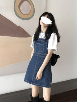 Dress Spring 2021 Denim blue S M L Short skirt singleton  Sleeveless commute High waist Solid color Socket A-line skirt routine straps 25-29 years old Teilwenl / Tiki Retro straps More than 95% other Other 100% Pure e-commerce (online only)