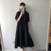 Dress Summer of 2019 black S M L Mid length dress singleton  Short sleeve commute Solid color puff sleeve 25-29 years old Type A Teilwenl / Tiki Retro 71% (inclusive) - 80% (inclusive) cotton Pure e-commerce (online only)
