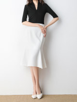 skirt Summer of 2019 S M L White black Mid length dress commute High waist skirt Solid color Type A 25-29 years old More than 95% Teilwenl / Tiki other Simplicity Other 100% Pure e-commerce (online only)