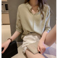 Lace / Chiffon Summer of 2019 White yellow green pink S M L XL 2XL elbow sleeve commute easy Regular V-neck Solid color 25-29 years old Teilwenl / Tiki TWX30978S Simplicity Polyester 78.2% cotton 21.8%