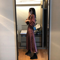 Dress Spring 2020 gules S M L XL Mid length dress singleton  Long sleeves commute V-neck High waist Decor Socket Big swing bishop sleeve Others 25-29 years old Type A Teilwenl / Tiki printing TWX31556S More than 95% other Other 100% Pure e-commerce (online only)
