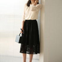 skirt Autumn 2020 S M L XL Apricot black longuette commute Natural waist A-line skirt Solid color Type H 25-29 years old LSZ2373 91% (inclusive) - 95% (inclusive) Lace Loersuoi / losu nylon Resin fixed lace with hollow pleated and pleated gauze