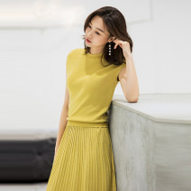 Dress Spring of 2019 S M L XL Mid length dress Two piece set Short sleeve commute Crew neck High waist Solid color Socket Pleated skirt raglan sleeve Oblique shoulder 25-29 years old Type H Korean version 30% and below knitting polyester fiber
