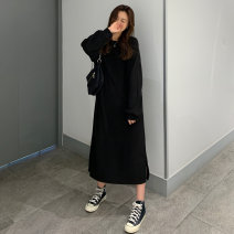 Dress Winter 2020 Dark Khaki blue gray black Average size Mid length dress singleton  Long sleeves commute Crew neck Loose waist Solid color Socket routine 18-24 years old Emperor rhyme Korean version jt1683 81% (inclusive) - 90% (inclusive) corduroy cotton Exclusive payment of tmall